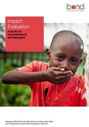 Stern, E. (2015). Impact Evaluation: A Guide for Commissioners and Managers. Prepared for the Big Lottery Fund, Bond, Comic Relief and the Department for International Development. Retrieved from: http://www.bond.org.uk/data/files/Impact_Evaluation_Guide_0515.pdf