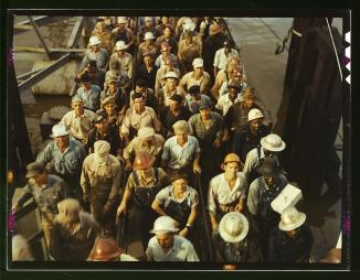 Workers leaving Pennsylvania shipyards, Beaumont, Texas photo by  John Vachon