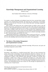 W.R. King (ed.), Knowledge Management and Organizational Learning, 3 Annals of Information Systems 4, DOI 10.1007/978-1-4419-0011-1_1, © Springer Science+Business Media, LLC 2009