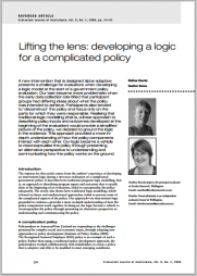 Roorda, M.&Nunns, H.(2009)Lifting the lens: developing a logic for a complicated policy. Refereed article. Evaluation Journal of Australasia, Vol. 9, No. 2, 2009, pp. 24-32.Retrieved fromhttp://www.evalueresearch.co.nz/wp-content/uploads/LiftingTheLens.pdf