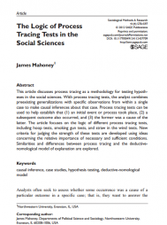Mahoney, J. (2012). The logic of process tracing tests in the social sciences. Sociological Methods & Research, 41(4), 570–597. Retrieved from http://smr.sagepub.com/content/41/4/570.abstract