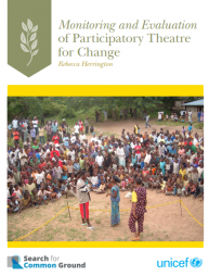 Herrington, R. (2016). Monitoring and Evaluating Participatory Theatre for Change. 1st ed. Washington DC: Search for Common Ground. Available at: https://goo.gl/upvfNk (Accessed at: May 03, 2017)
