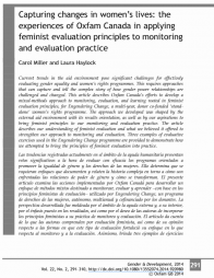 Carol Miller & Laura Haylock (2014) 'Capturing changes in women's lives: the experiences of Oxfam Canada in applying feminist evaluation principles to monitoring and evaluation practice', Gender & Development, v, 22:2, 291-310, DOI: 10.1080/13552074.2014.920980