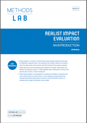 Westhorp, G. (2014) 'Realist impact evaluation: an introduction'. Methods Lab. London: Overseas Development Institute.