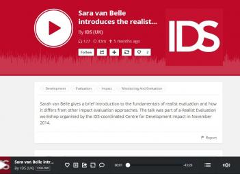 Marchal, B., van Belle, S., and Barnett, I. (2014)Realist Evaluation Workshop[Audio from workshop]. Retrieved from:http://www.ids.ac.uk/events/realist-evaluation-workshop#eventstraming