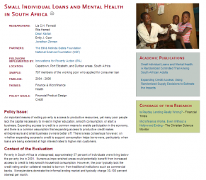 The Abdul Latif Jameel Poverty Action Lab (J-PAL). (2006). Small individual loans and mental health in South Africa. Retrieved from http://www.povertyactionlab.org/evaluation/small-individual-loans-and-me...