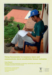 Deprez, S., Huyghe, C., Van Gool Maldonado, C. (2012) Using Sensemaker to measure, learn and communicate about smallholder farmer inclusion. VECO: Leuven.  https://www.veco-ngo.org/nl/node/92
