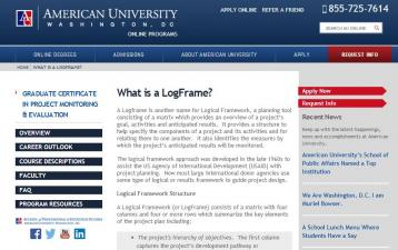 Collins, K. B. (n.d.) 'What is a LogFrame?' on American University [Website]. Retrieved from: http://programs.online.american.edu/cpme/resource/what-is-a-logframe