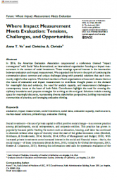 Vo, A. T. and Christie, C. A. (2018).Where impact measurement meets evaluation: tensions, challenges and opportunities. American Journal of Evaluation Vol 39(3), 383-388. Retrieved fromhttps://journals.sagepub.com/doi/abs/10.1177/1098214018778813